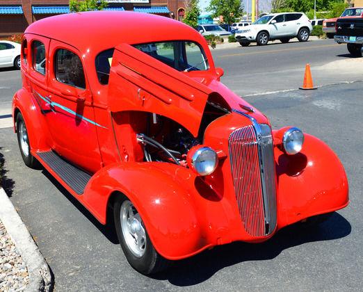 1936 CHEVY SEDAN, HUMPBACK, STREET ROD, RED, AC, HEAT, AUTO