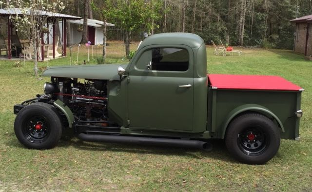 Ford Rat Rod Pick Up Truck Flat Green Small Journal Chevy Engine