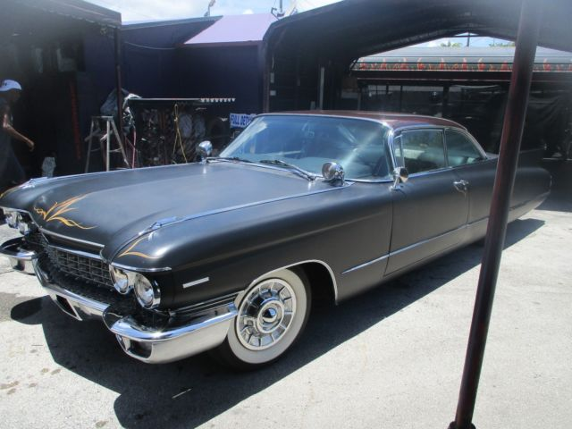 1960 CADILLAC DEVILLE 2 DOOR HARD TOP MAT BLACK WHITE WALLS SLAMMED ...