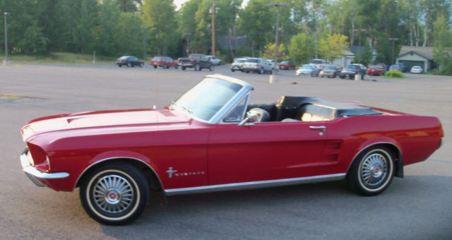 1967 ford mustang convertible 6 cylinder 3 speed red black top black interior