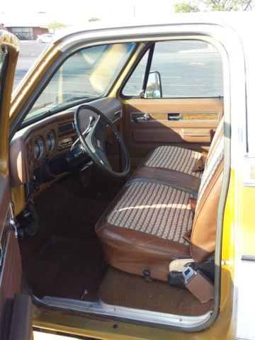 1975 Gmc Sierra Grande Pickup Truck W Camper Top Gold Amp White