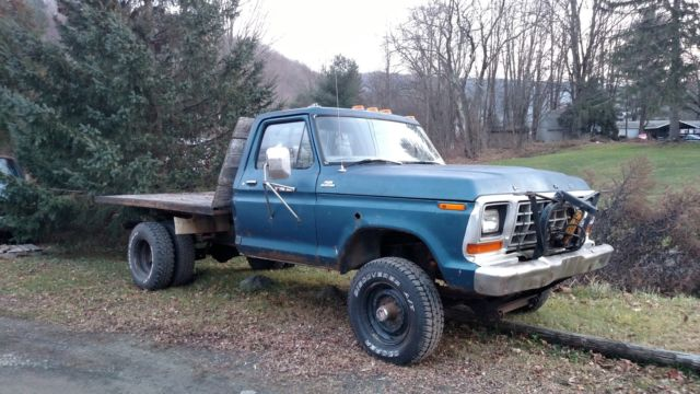 1979 Ford F250 4x4 Dually Flatbed Dump With Plow