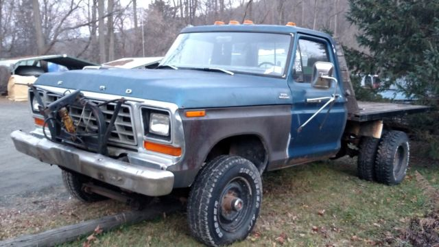 Ford F250 8 Foot Bed For Sale >> 1979 ford f250 4x4 dually flatbed dump with plow