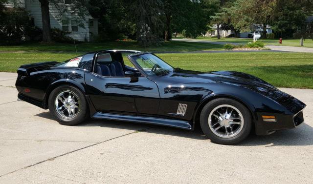 1980 Corvette Gloss Black T Tops Custom Wheels