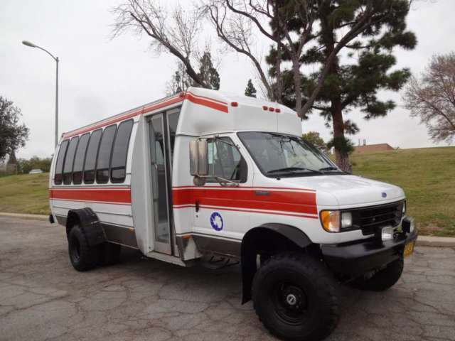 94 Ford E350 Shuttle bus Diesel 7.3 low 36k miles 4x4 rare ...