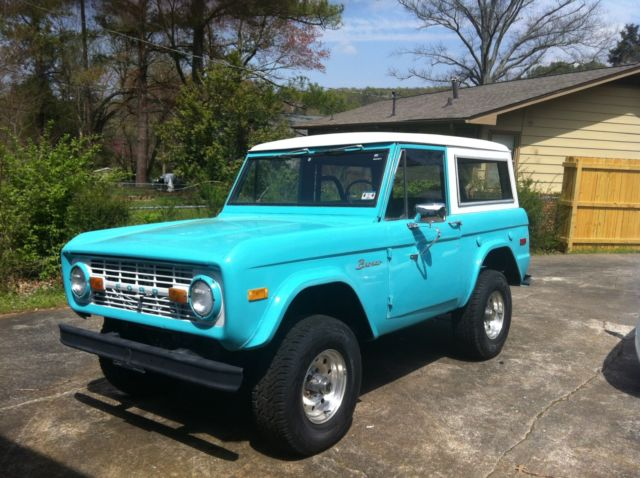 Classic 1970 Turquoise Ford Bronco Convertible